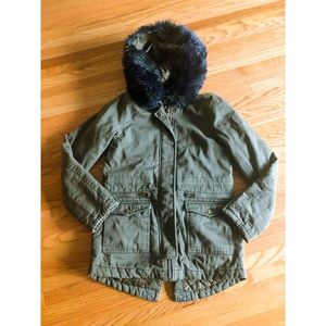 CoffeeShop Faux Blue Fur Cargo Jacket